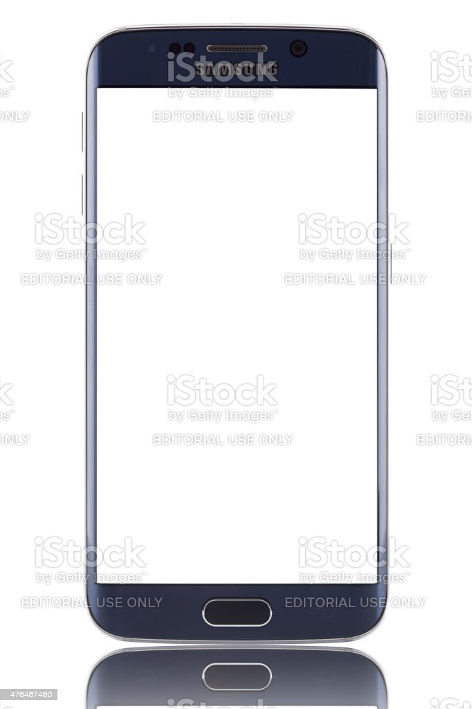 Samsung Galaxy S6 EDGE with blank screen and clipping path stock photo