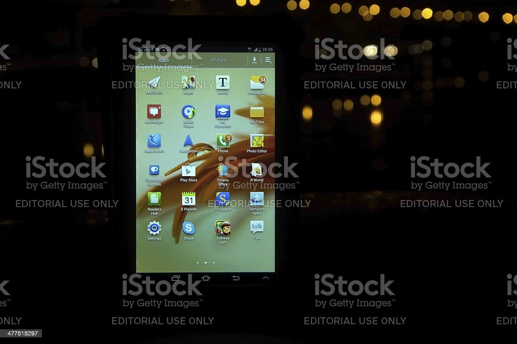 Samsung Galaxy Tab at Night Landscape royalty-free stock photo