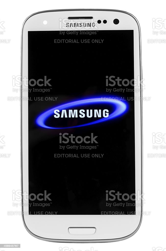 Samsung I9300 Galaxy SIII isolated on white stock photo
