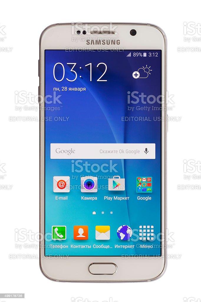 Samsung S6 (Russian Language) stock photo