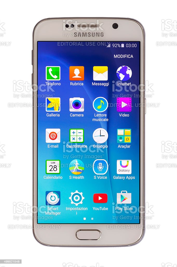 Samsung S6 (Italian Language) stock photo