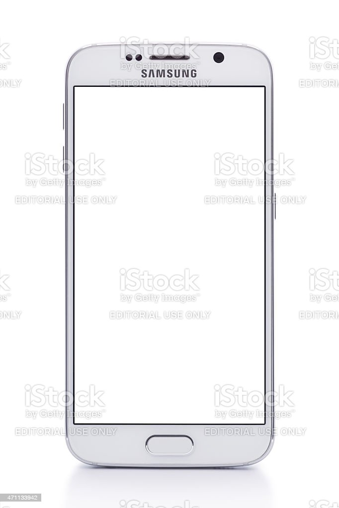 Samsung S6 White Pearl with clipping path and empty screen stock photo