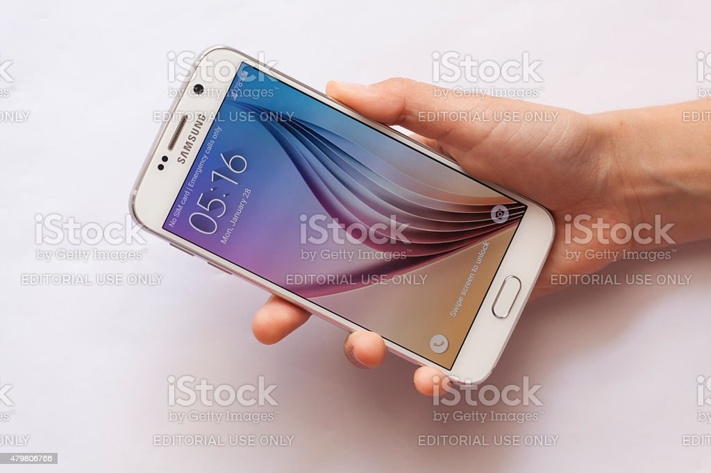 Samsung S6 with woman hand stock photo
