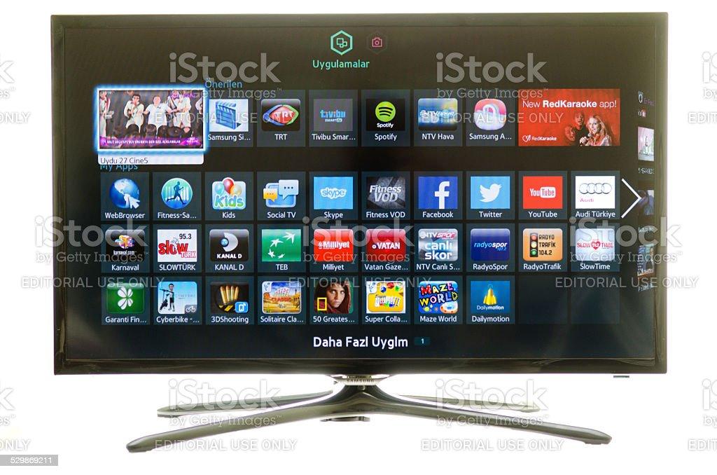 Samsung smart TV and social media stock photo