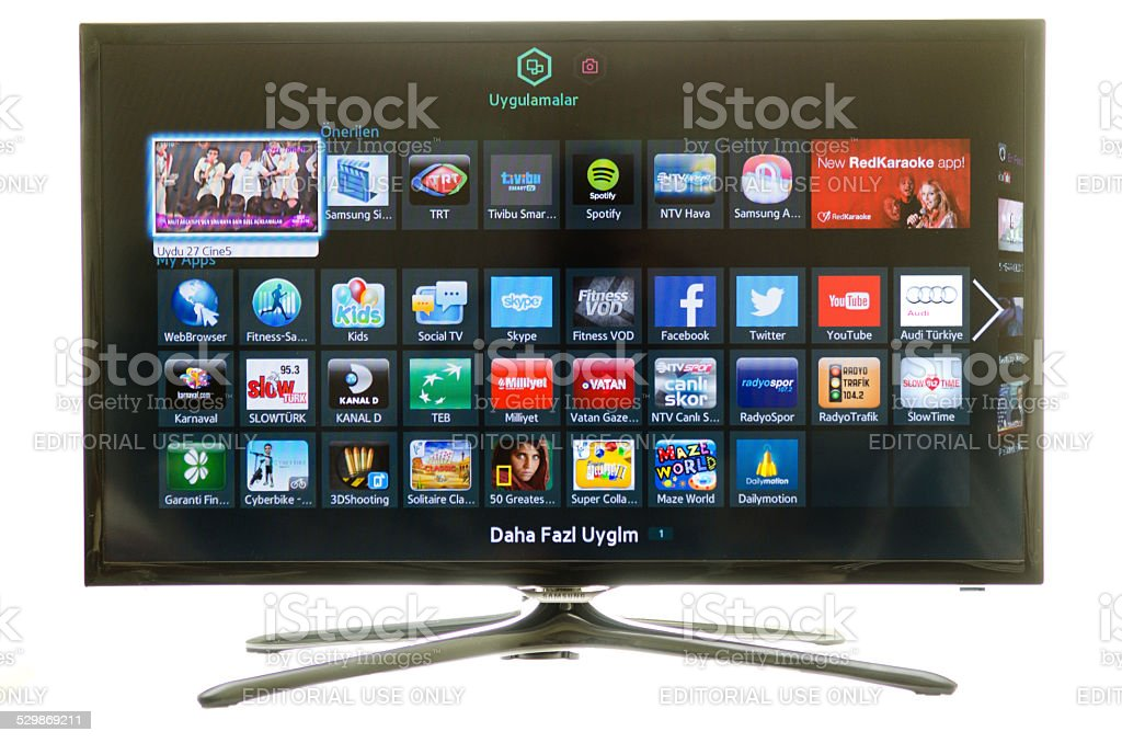 Samsung smart TV and social media stock photo