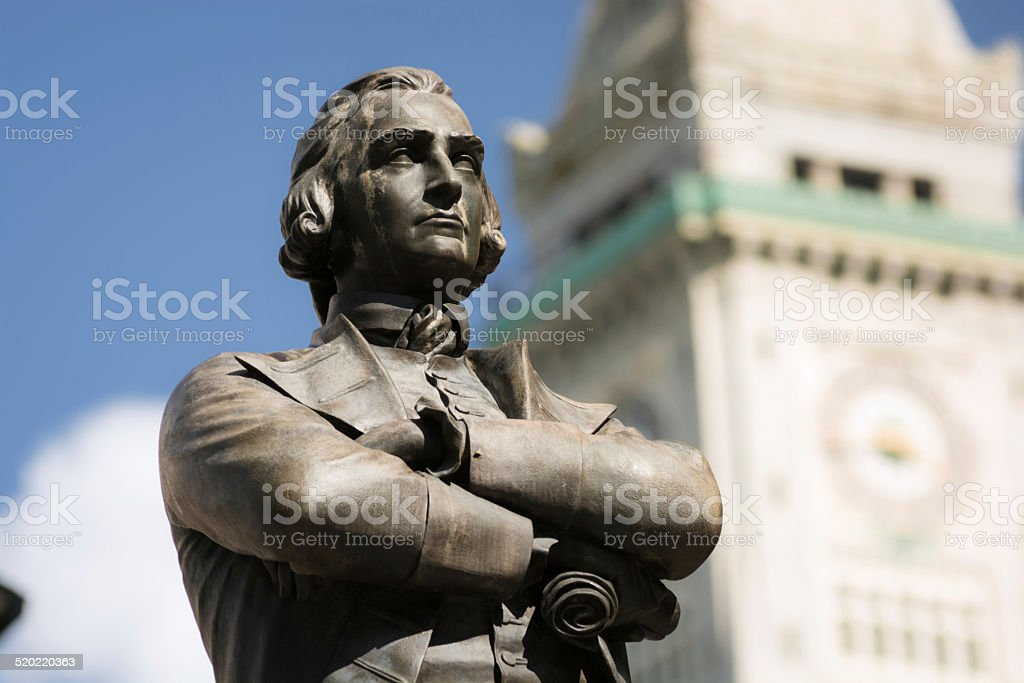 Samuel Adams statue at Faneuil Hall in Boston, MA stock photo