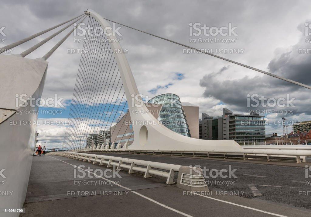 Samuel Beckett Bridge and Convention Center, Dublin Ireland. stock photo