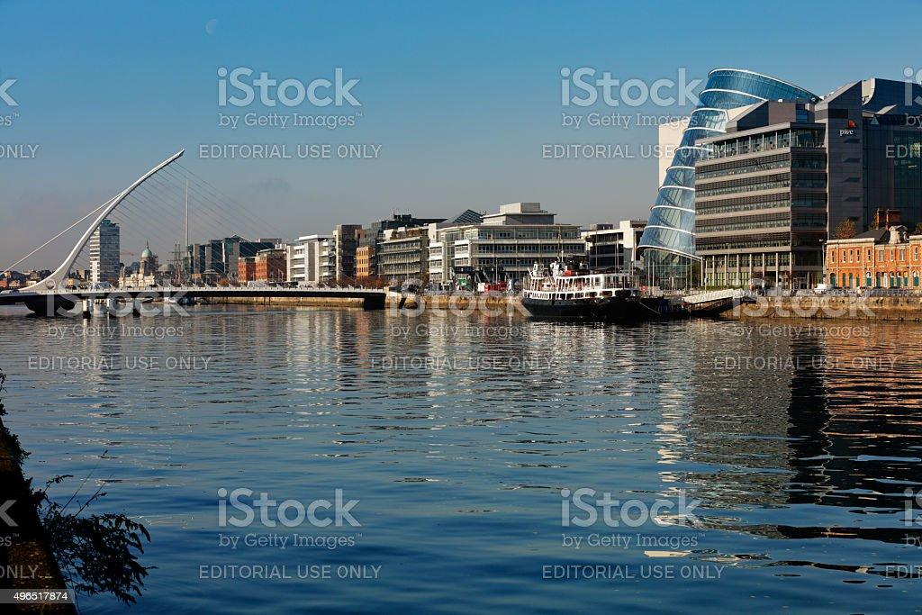 Samuel Beckett Bridge in Dublin City Centre stock photo