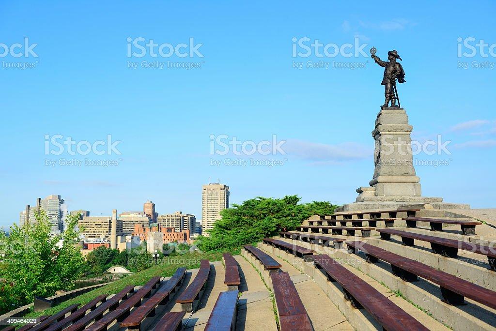 Samuel de Champlain statue in Ottawa stock photo