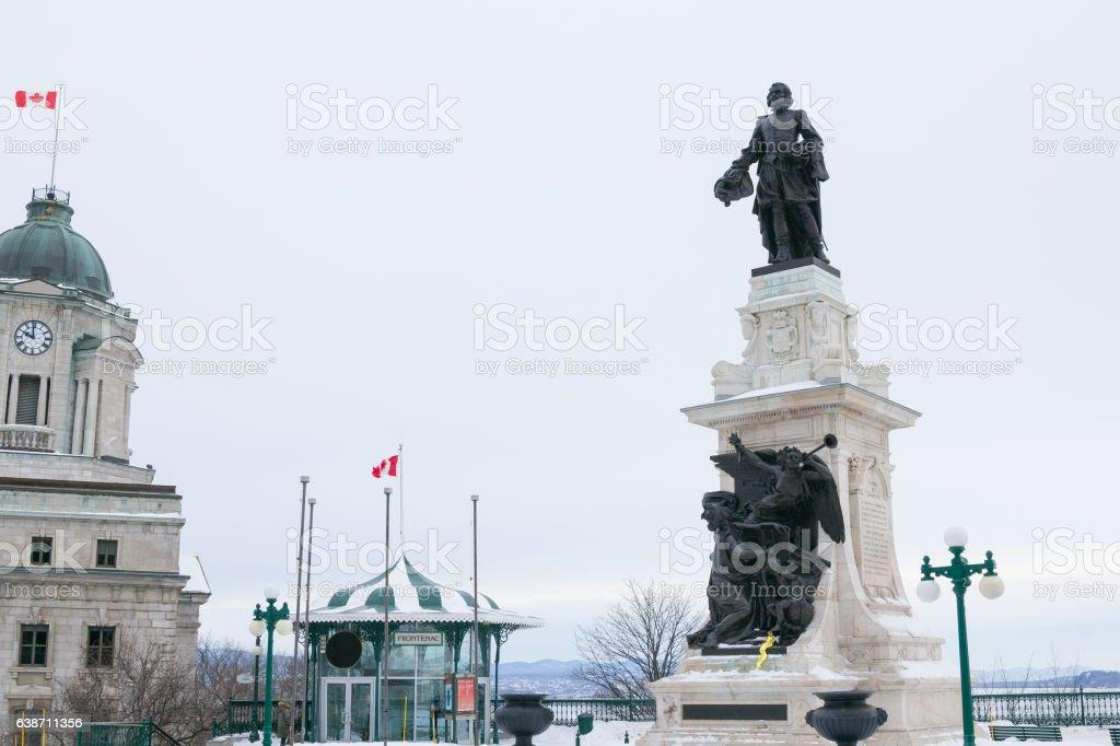 Samuel de Champlain statue in Quebec City under heavy snow stock photo
