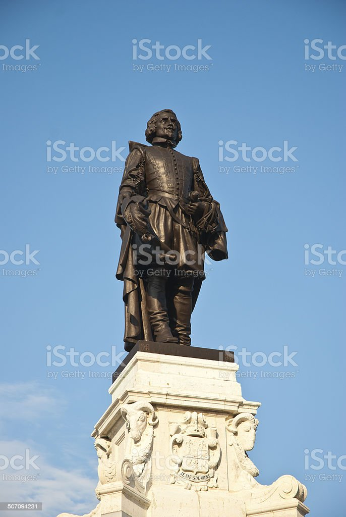 Samuel de Champlain statue stock photo