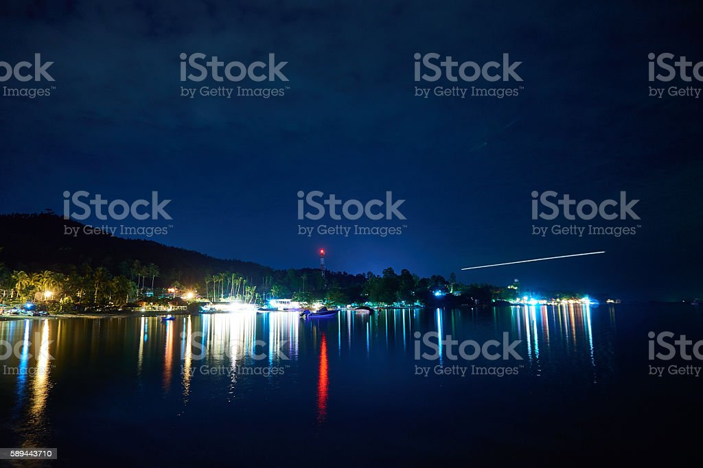 Samui island coast with lights at night stock photo