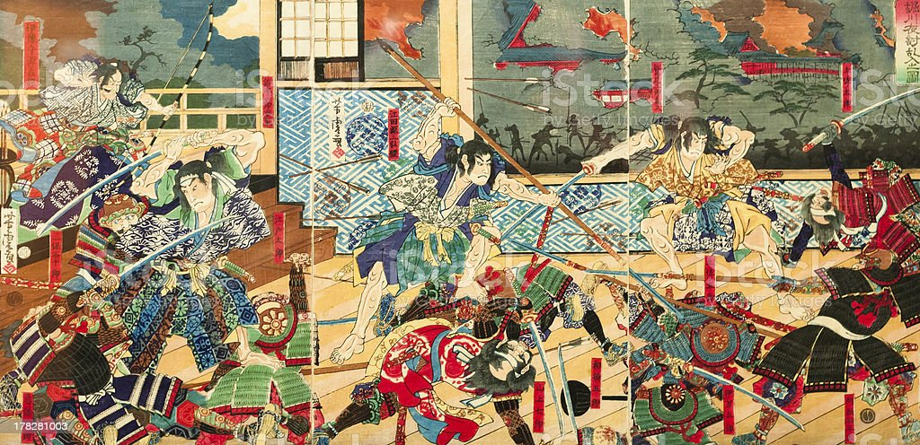 Samurai battle on old vintage Japanese Traditional paintings stock photo