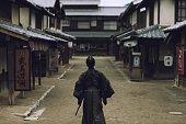 Samurai in Japanese village
