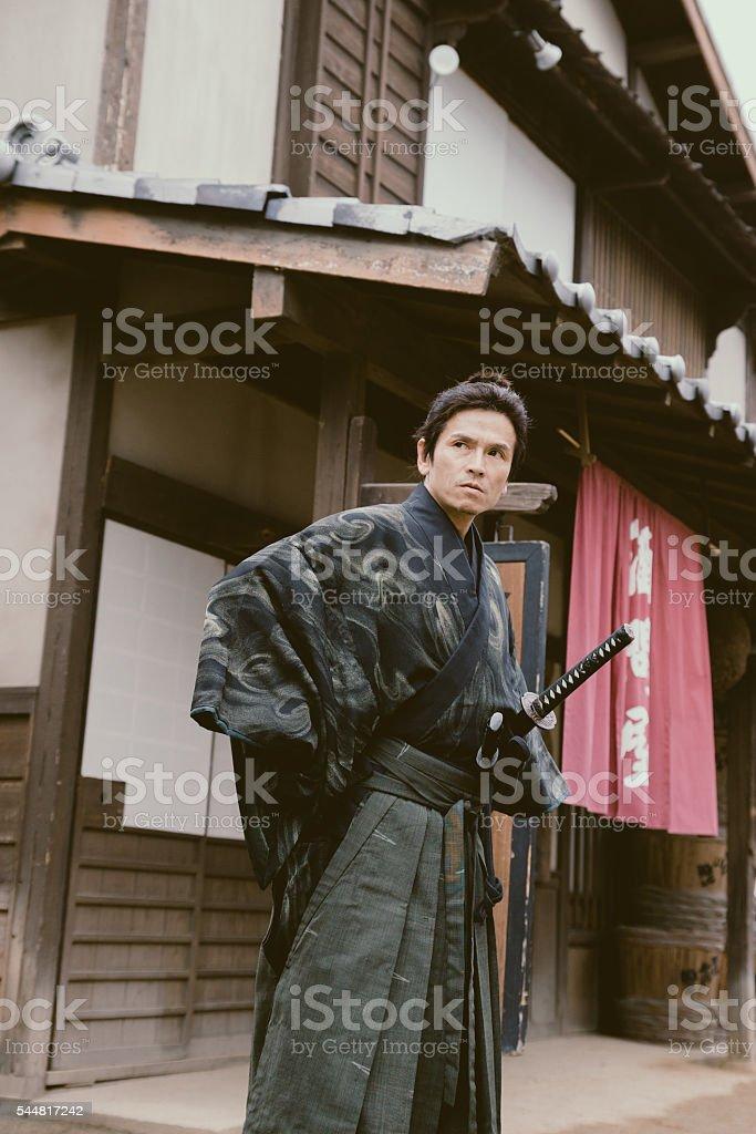 Samurai ninja looking focused stock photo