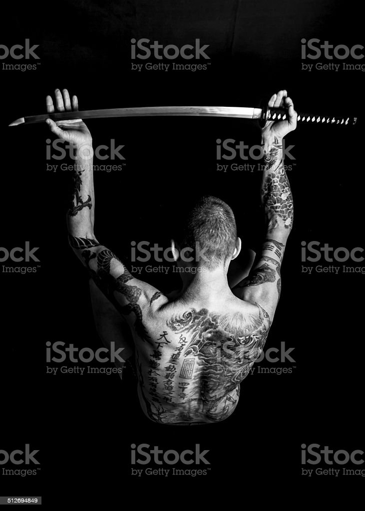Samurai sword - offer to serve or surrender stock photo