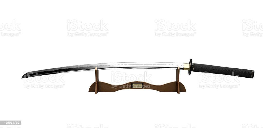 Samurai sword on a stand stock photo