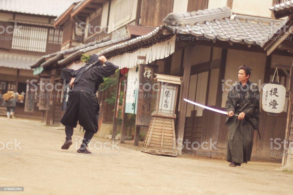 Samurai vs Ninja stock photo