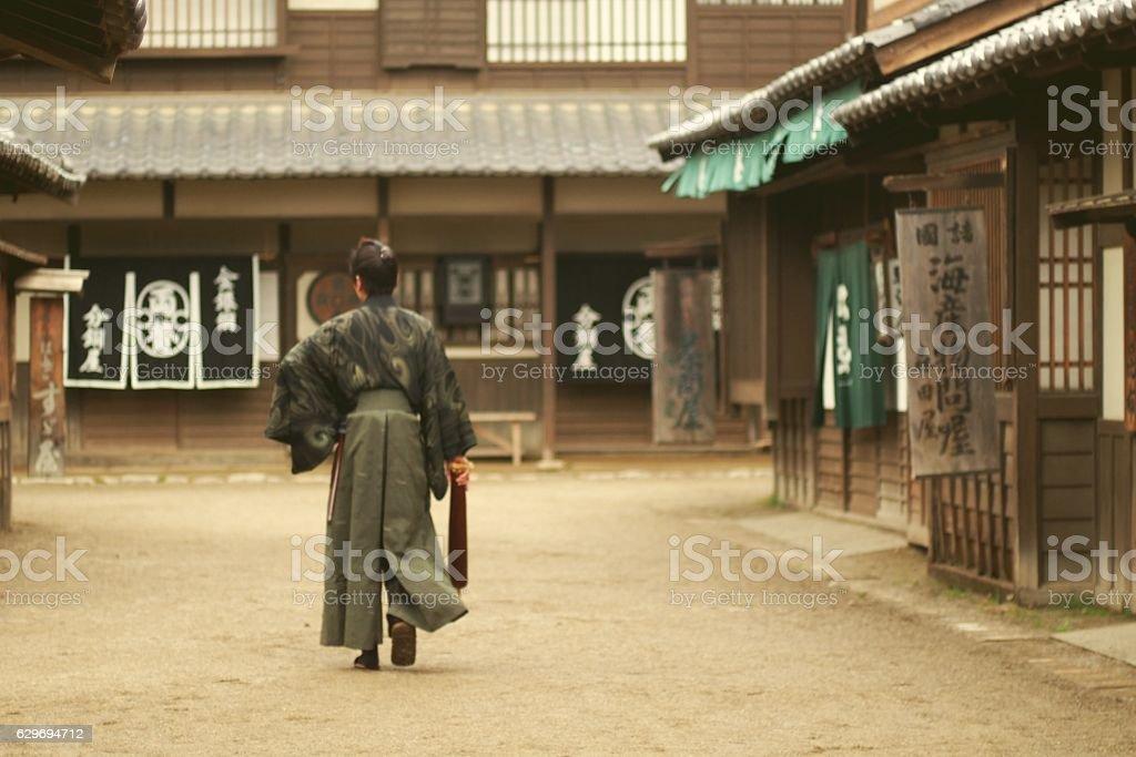 Samurai walking street in Edo Period stock photo