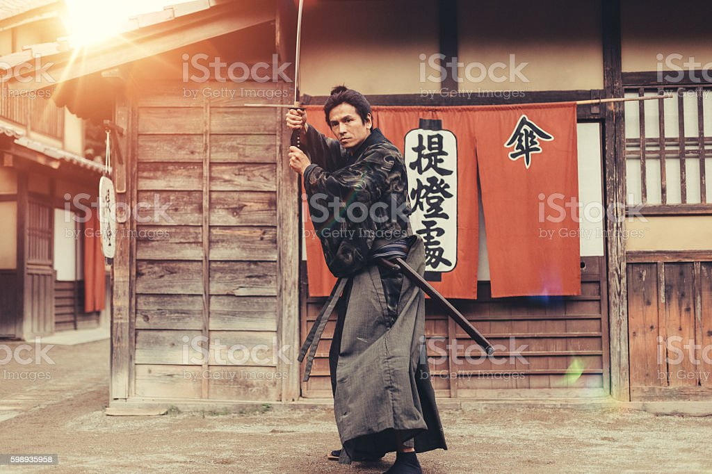 Samurai warrior stock photo