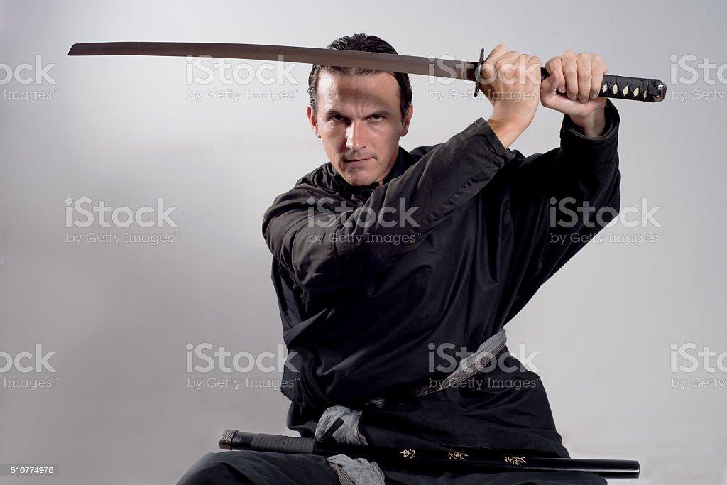 samurai with katana stock photo