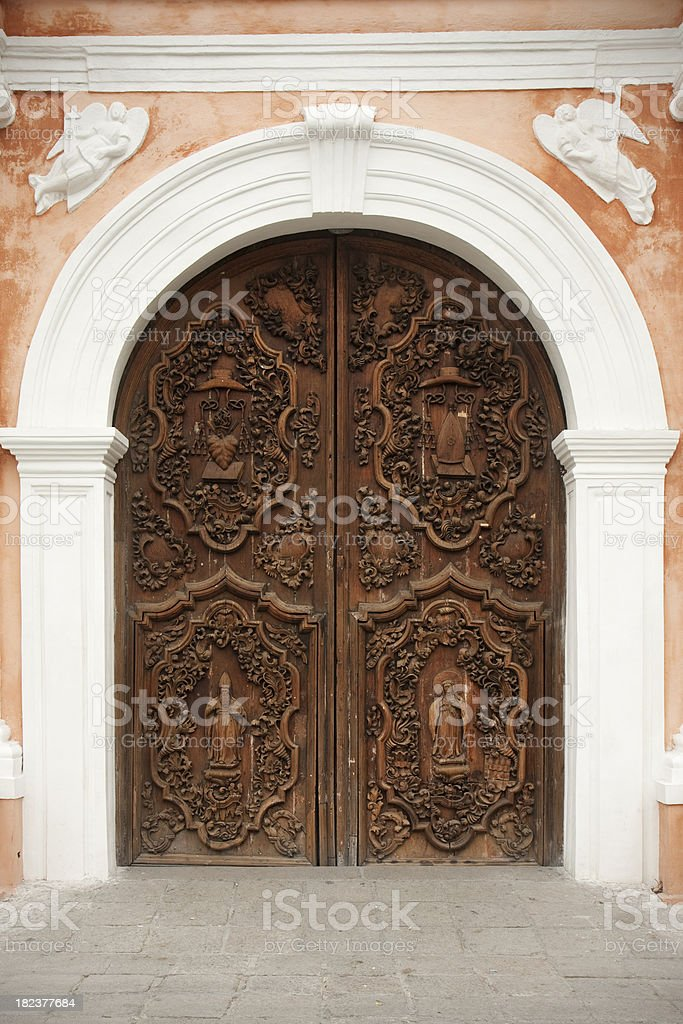 San Agustin church door stock photo