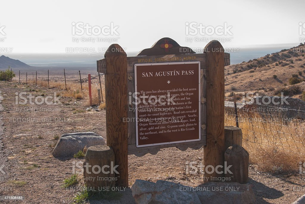San Agustin Pass Historical Marker Near Las Cruces, New Mexico stock photo