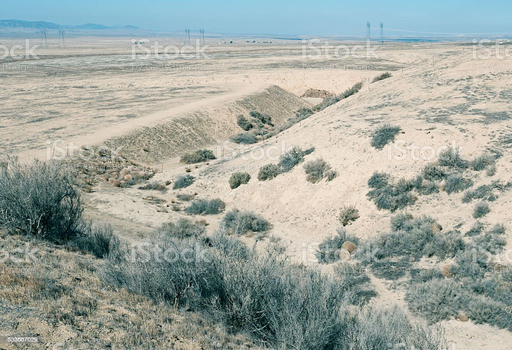 San Andreas Fault looking northwest to California Valley CA stock photo