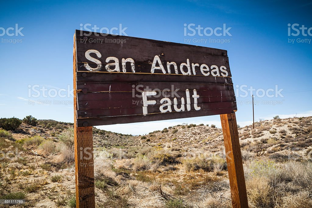 San Andreas Fault Sign, Pallet Creek Road, Pearblossom California royalty-free stock photo