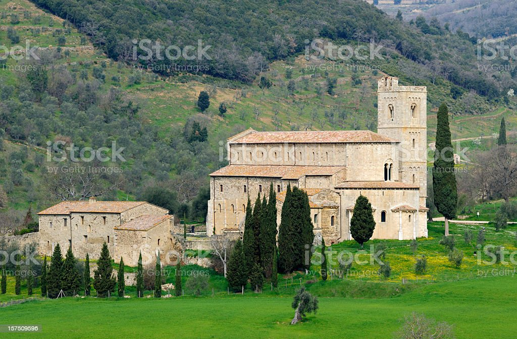 San Antimo Abbey stock photo