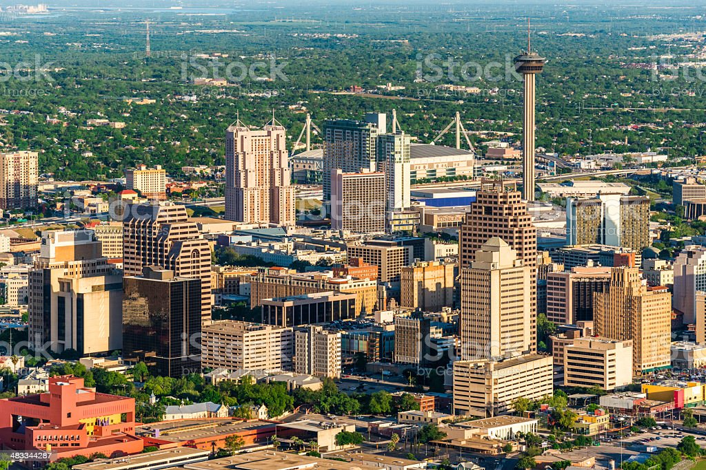 San Antonio cityscape skyline aerial view royalty-free stock photo