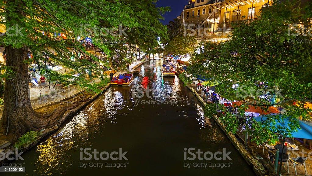 San Antonio River Walk at Night in San Antonio, Texas stock photo