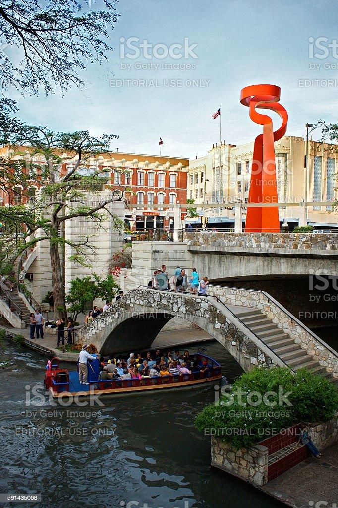 San Antonio Riverwalk and La Antorcha de la Amistad stock photo