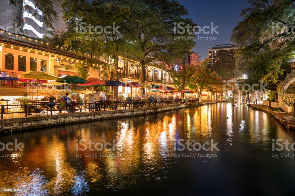 San Antonio Riverwalk canal at night stock photo