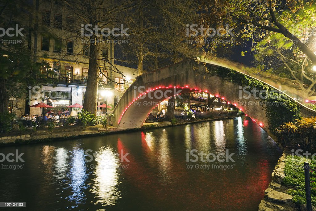San Antonio Riverwalk Night Life, Sidewalk Cafes Along Texas River royalty-free stock photo