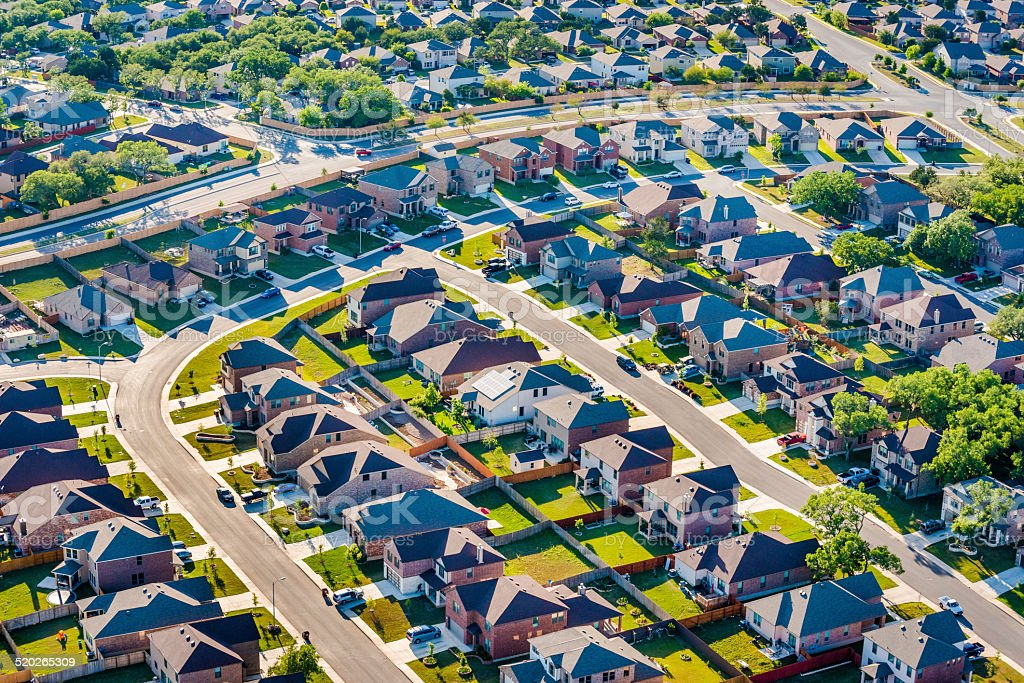 San AntonioTexas housing development neighborhood suburbs - aerial view stock photo