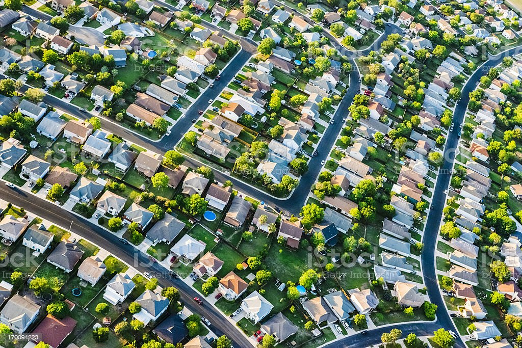 San AntonioTexas  suburban housing development neighborhood - aerial view stock photo