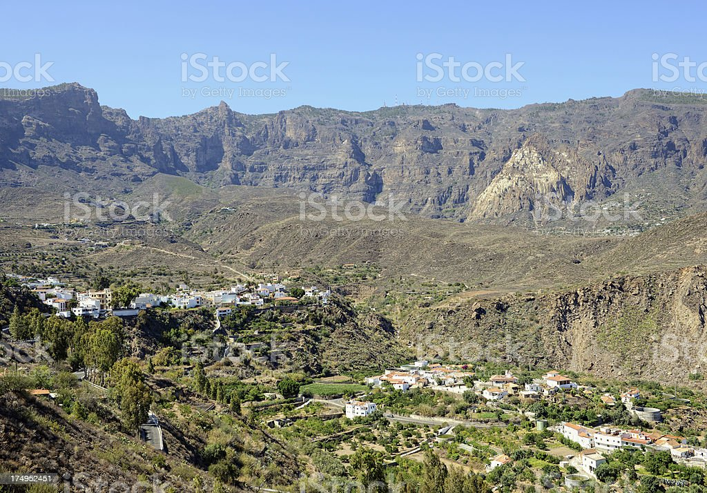 San Bartolome de Tirajana and old volcano Caldera stock photo