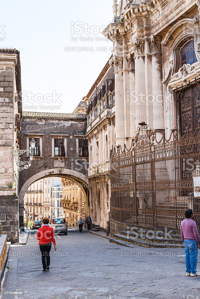 San Benedetto Church in Catania city stock photo