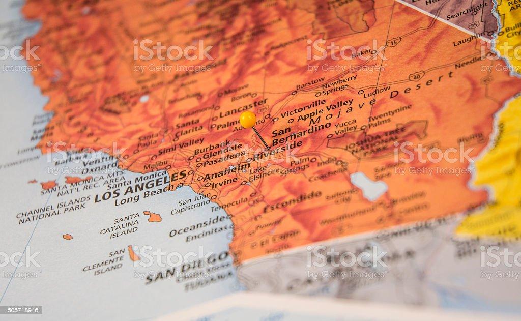 San Bernadino California Travel Road Map Macro stock photo