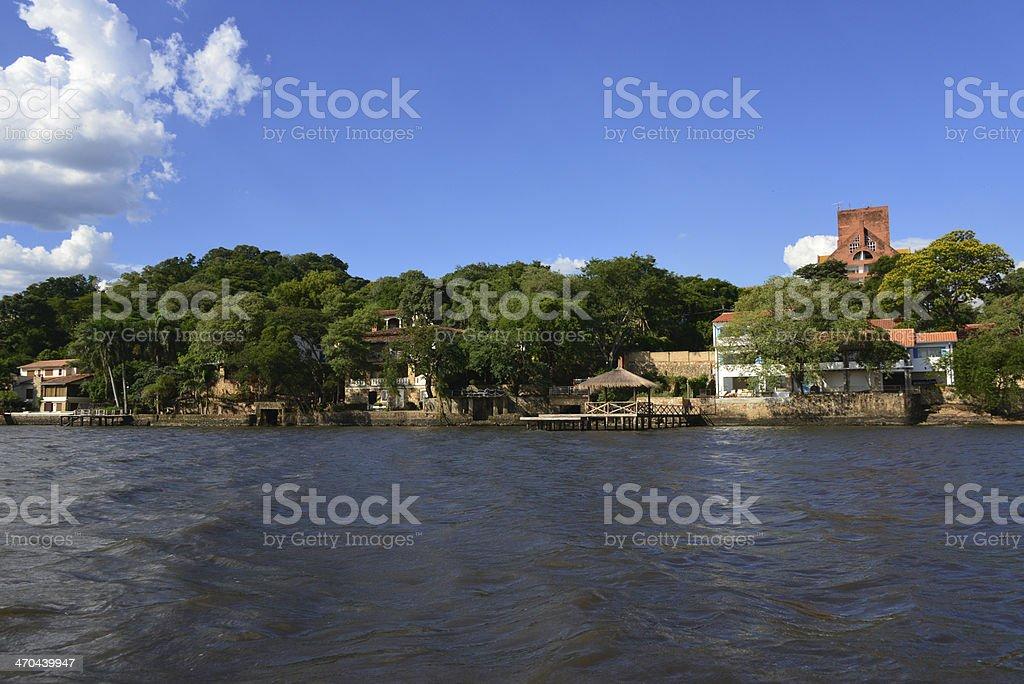 San Bernardino / Samber, Cordillera, Paraguay: Ypacarai Lake, lakefront houses stock photo