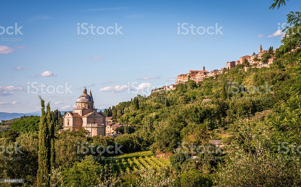 San Biagio church and Montepulciano town in Tuscany stock photo