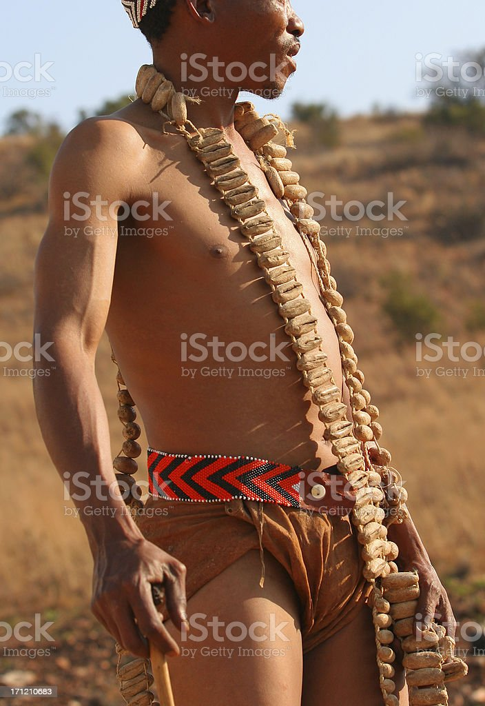 San Bushman attire stock photo