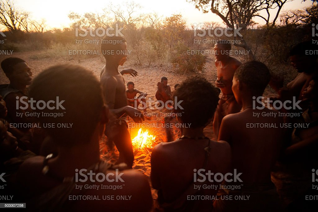 San bushman people dancing in the african bush, Grashoek, Namibia stock photo