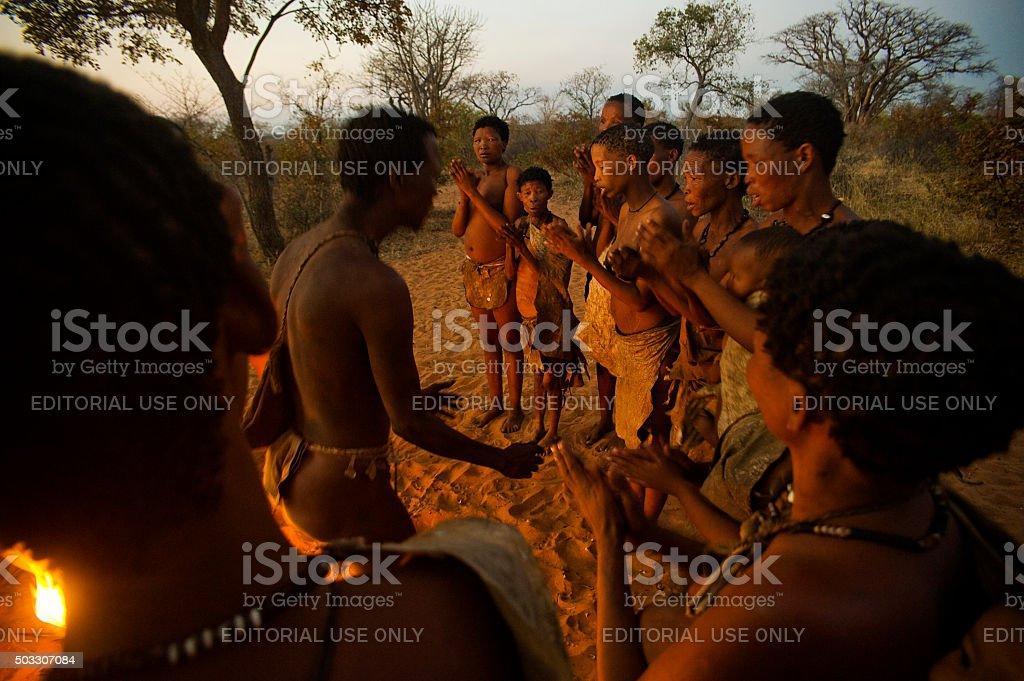 San bushman people, Grashoek, Namibia stock photo