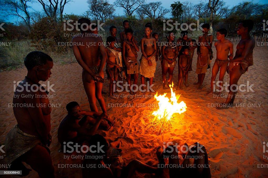 San bushman people in the african bush, Grashoek, Namibia stock photo