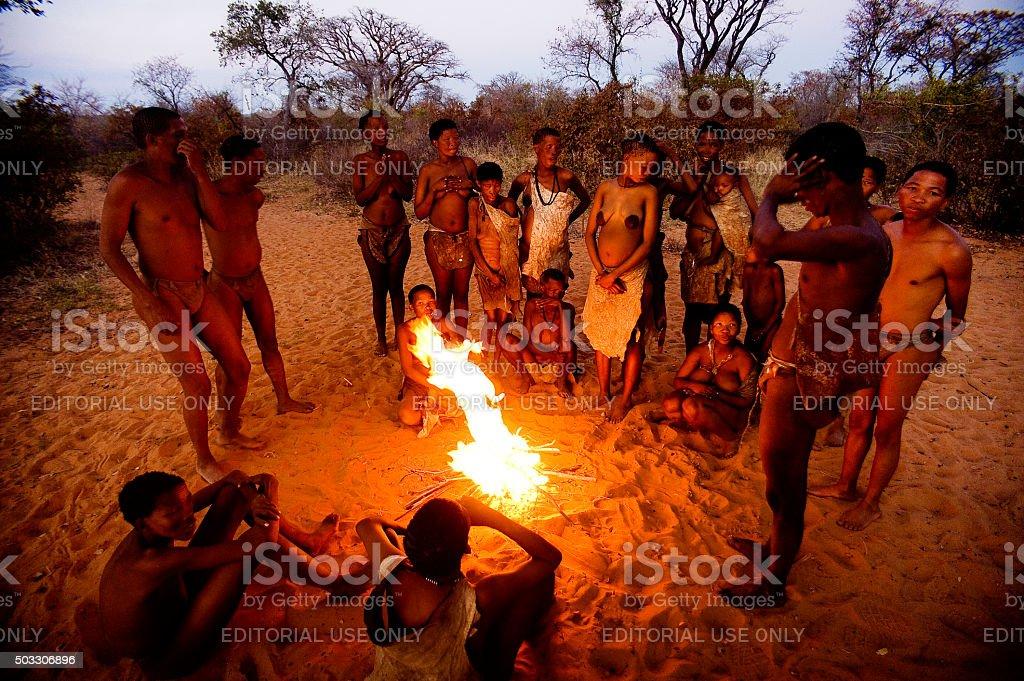 San bushman people on the african bush, Grashoek, Namibia stock photo