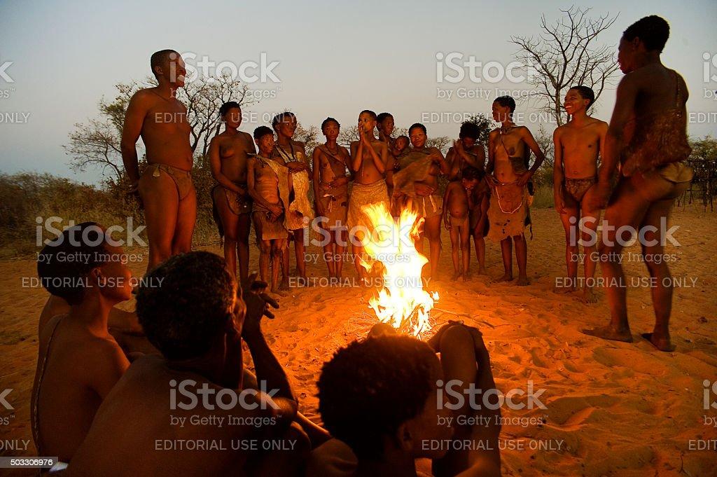 San bushmen hunters, Grashoek, Namibia stock photo