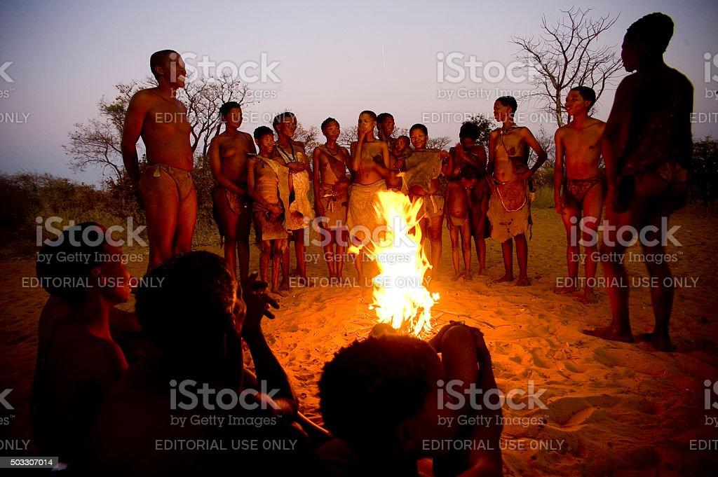 San bushmen people, Grashoek, Namibia stock photo