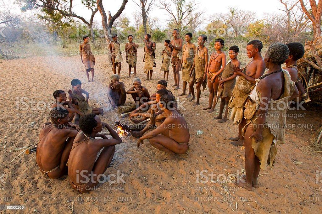 San bushmens at their village at Grashoek, Namibia stock photo